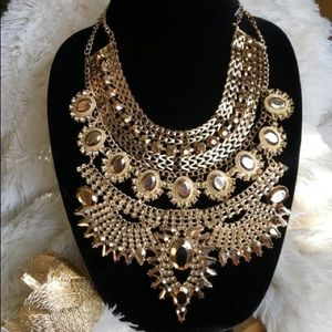 Golden Goddess African Crystal Statement Necklace